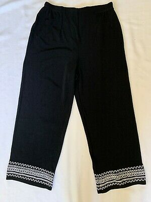 Chico's Size 0 (S) Travelers Black White Embroidered Wide Leg Capri Crop Pants
