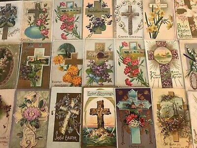 "LOT of 25 BEAUTIFUL Antique~"" EASTER CROSSES"" with Flowers CROSS POSTCARDS-s129"