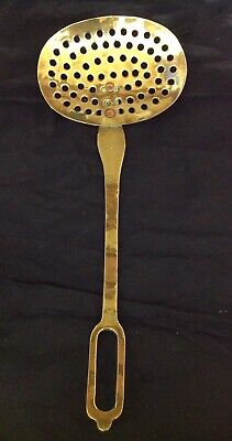 Early 19th Century Large Brass Strainer / Skillet, Copper Rivetted Joints