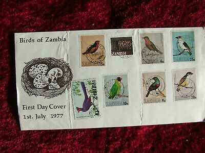 Birds Of Zambia First Day Cover / 8 Stamps / 1 July 1977