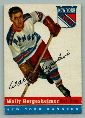 1954-55 Topps Wally Hergesheimer #22 EX+ Vintage Hockey Card