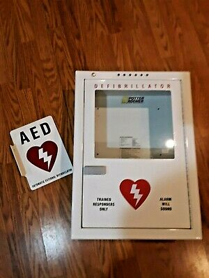 POTTER ROEMER Emergency Medical Defib Cabinet Steel Wall Mount White with sign