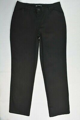 Lee 1889 RELAXED FIT Sz 12 Womens BLACK Comfort Stretch STRAIGHT Trouser PANTS