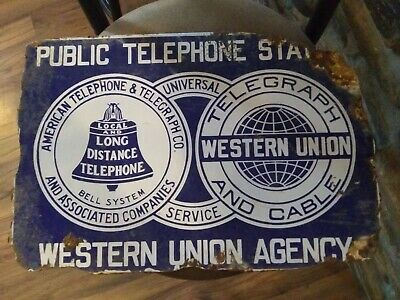 Western Union, American Telephone And telegraph public telephone Porcelain sign