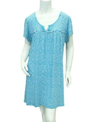 Jaclyn Intimates Womens Teal & White Sleep Shirt Jersey Knit Nightgown Small
