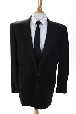 Hickey Freeman for Nordstrom Mens Pinstripe Jacket Charcoal Gray Wool Size 44L