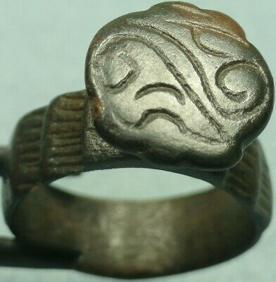 Museum Quality Byzantine Bronze Shield Ring, Cross