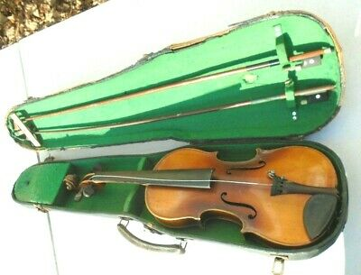 old Czechoslovakia student  size violin in case with 2 bow