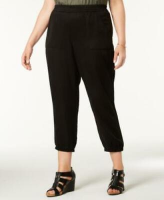 Style Co Plus Women 24W Black Mid Rise Relaxed Fit Casual Joggers Straight Pants