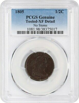 1805 1/2c PCGS XF Details (Small 5, No Stems, Tooled)