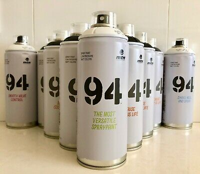 MTN 94 Montana Colors BLACK & WHITE Spray Paint SPECIAL *12 CANS FREE METRO P&H*