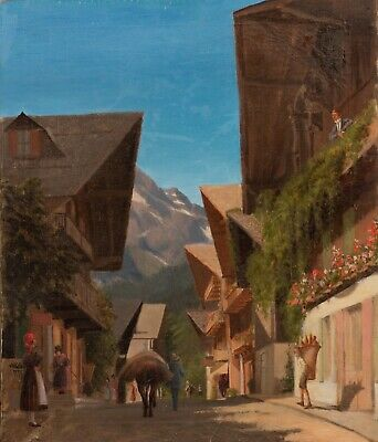 19th Century French Chambery Street Scene Alps Mountain Landscape Oil Painting