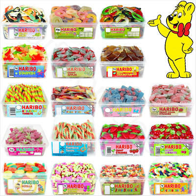 1 x Full Tub of Haribo Sweets Candies Kids Party Favours Retro Jelly Sweets Bags