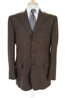 Gianni Manzoni Mens Long Sleeve Three Button Speckled Jacket Brown Size 40R