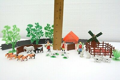 Vintage Miniature Plastic Farm Toy Set with Animals, People, and Fence