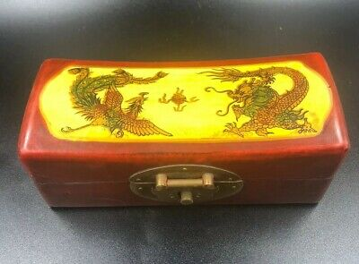 Chinese Wooden Trinket Jewellery Money Box Hand Painted Oriental Vintage Chest