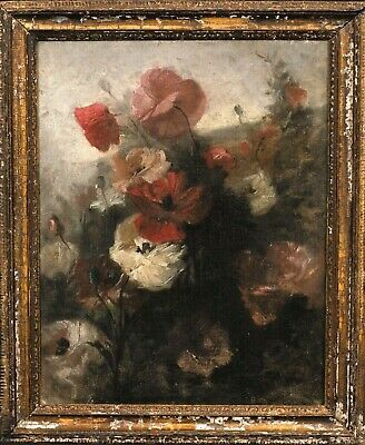 19th Century French Impressionist Still Life Of Flowers Anemones Antique