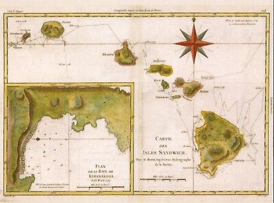 Postcard Hawaii Sandwich Islands Map by Rigobert Bonne 18th C MINT Unused