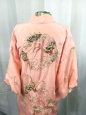 Beautiful Antique Chinese Hand Embroidered Dragon Pink Silk Jacket Robe 1920's