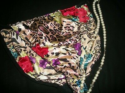 Vintage 80s Glossy Liquid Satin String Bikini Panties Plus Sz 2X + Free Shipping