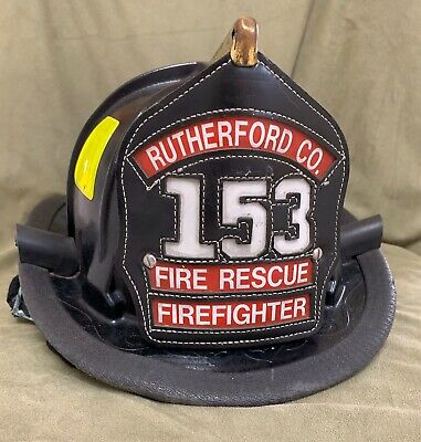 Cairns Firefighter Fire Helmet 880 2007 Rutherford Co TN W/ Leather Shield