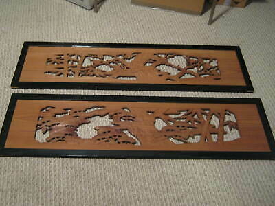 VINTAGE PAIR OF JAPANESE WOODEN RANMA TRANSOMS Pine & Bamboo Motif 1950s Cypress
