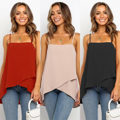 Womens Sexy Fashion Casual Low Cut Chiffon Spaghetti Strap Spring Hot Shirt Top