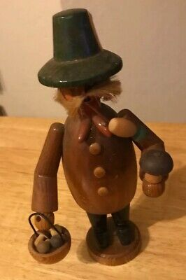 Vintage c1960's Folk Art German Carved Wooden SMOKER INCENSE BURNER Man