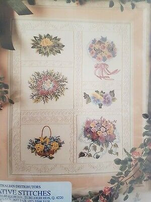 CANDAMAR DESIGNS CANDLEWICKING EMBROIDERY KIT Victorian Nosegay Picture NOS