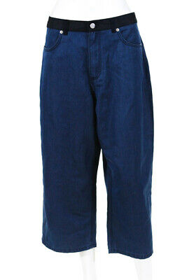 French Connection Womens Ultra High Waist Cropped Wide Jeans Blue Size 10