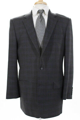 Marzoni Mens Two Button Plaid Collared Blazer Jacket Purple Gray Wool Size 44L
