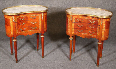 Gorgeous Pair Brass Bound Kidney Shaped French Louis XVI Nightstands End Tables