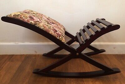 Vintage Rocking Gout Foot Stool Padded Tapestry Seat Wooden X frame Leg Rest