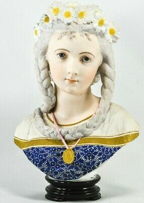 Vintage French Bisque Bust of Woman - By A. CARRIER BELLUESE