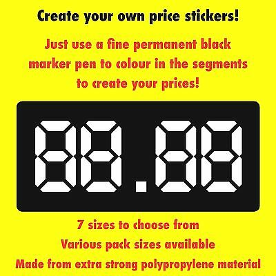Shop Window Price Labels / Stickers - Create Your Own Prices - 7 Sizes
