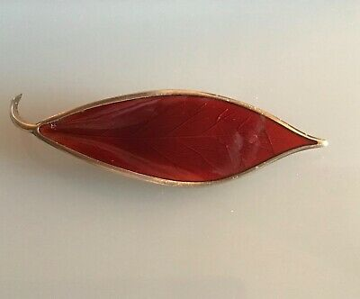 David Andersen Norway Sterling Red Enamel Guilloche Leaf Brooch