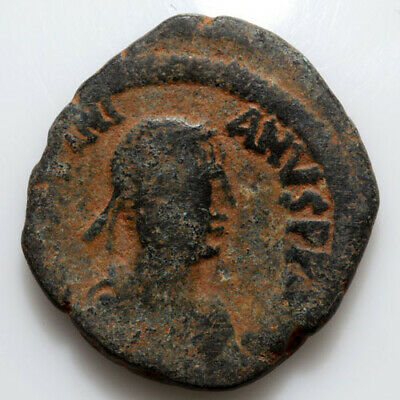 Byzantine coin AE Large Follis Justinian I Constantinople , AD 527-565