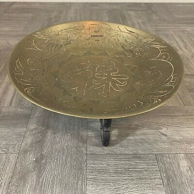"""Antique Chinese brass oval Ash tray low bowl W/ Wood Stand 1"""" x 10"""" x 1"""""""