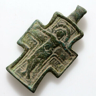 Museum Quality Ancient Byzantine Bronze Christian Cross Pendant Circa 700-1000 A