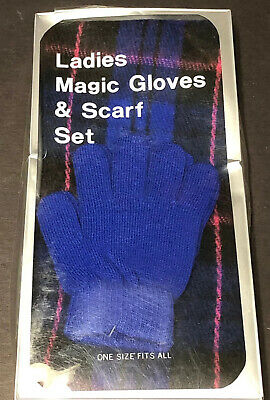 Ladies Magic Gloves & Scarf Set One Size Fits All Box Crushed Taiwan