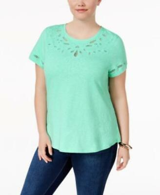 Charter Club Plus Women's sz 1X Green Embroidered Short Sleeve T-Shirt Top