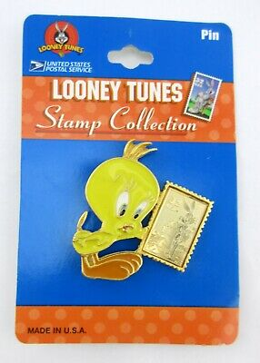 1997 Looney Tunes Stamp Collection Tweety Bird Pin Made in USA on Hang Card