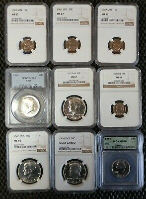 Lot of 9 US SMS Coins (1965-67), all pro-graded, MS65-MS68,  NO RESERVE! ! !