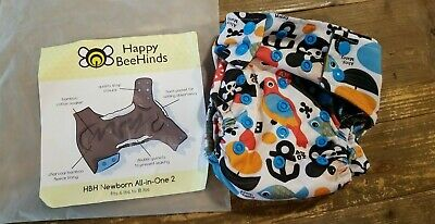 Happy BeeHinds Newborn 6lbs To 18lbs All In One Cloth Diaper Pirate Theme