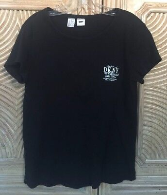 Dkny Classic Women's Cotton Shirt Top Short Sleeves Black Sz M Excellent