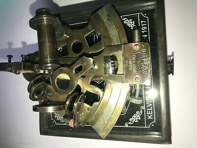Solid Brass Nautical Sextant With Wood Box