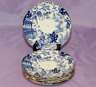 "Six MINT [6]1917 Royal Crown Derby BLUE MIKADO 7"" Inch Bread Dessert Salad Plate"
