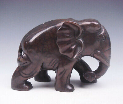 Nephrite Jade Carved Sculpture Walking  Wild Elephant #03232005