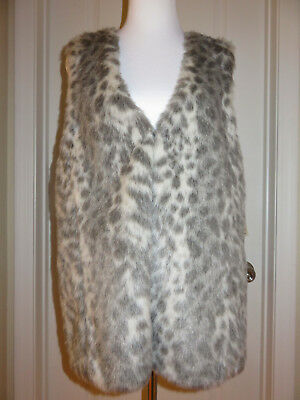 Democracy Gray Animal Faux Fur Sleeveless Open Front Sweater Vest Large $88