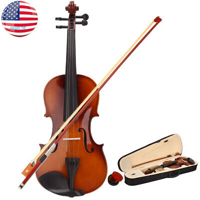 Professional Full Size 4/4 Acoustic Violin Natural Basswood With Case+Bow+Rosin
